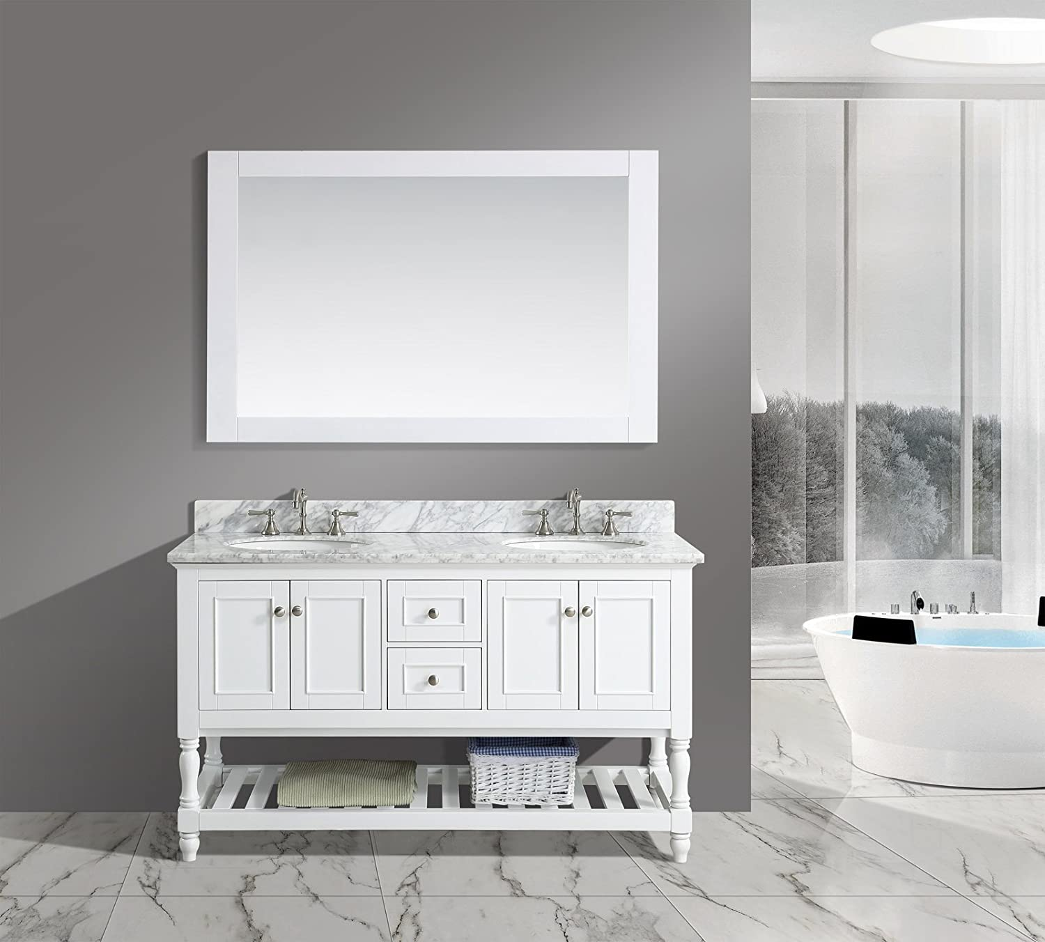 UrbanFurnishing.net – Silvia 60-Inch 60 Bathroom Sink Vanity Set with White Italian Carrara Marble Top – White