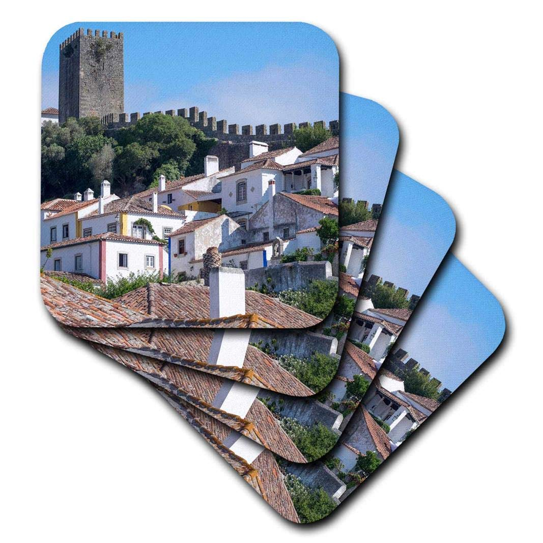 Set of 4 ancient city wall Obidos medieval structure encircles town Ceramic Tile Coasters medieval structure encircles town Ceramic Tile Coasters Set of 4 3dRose cst/_249417/_3Portugal