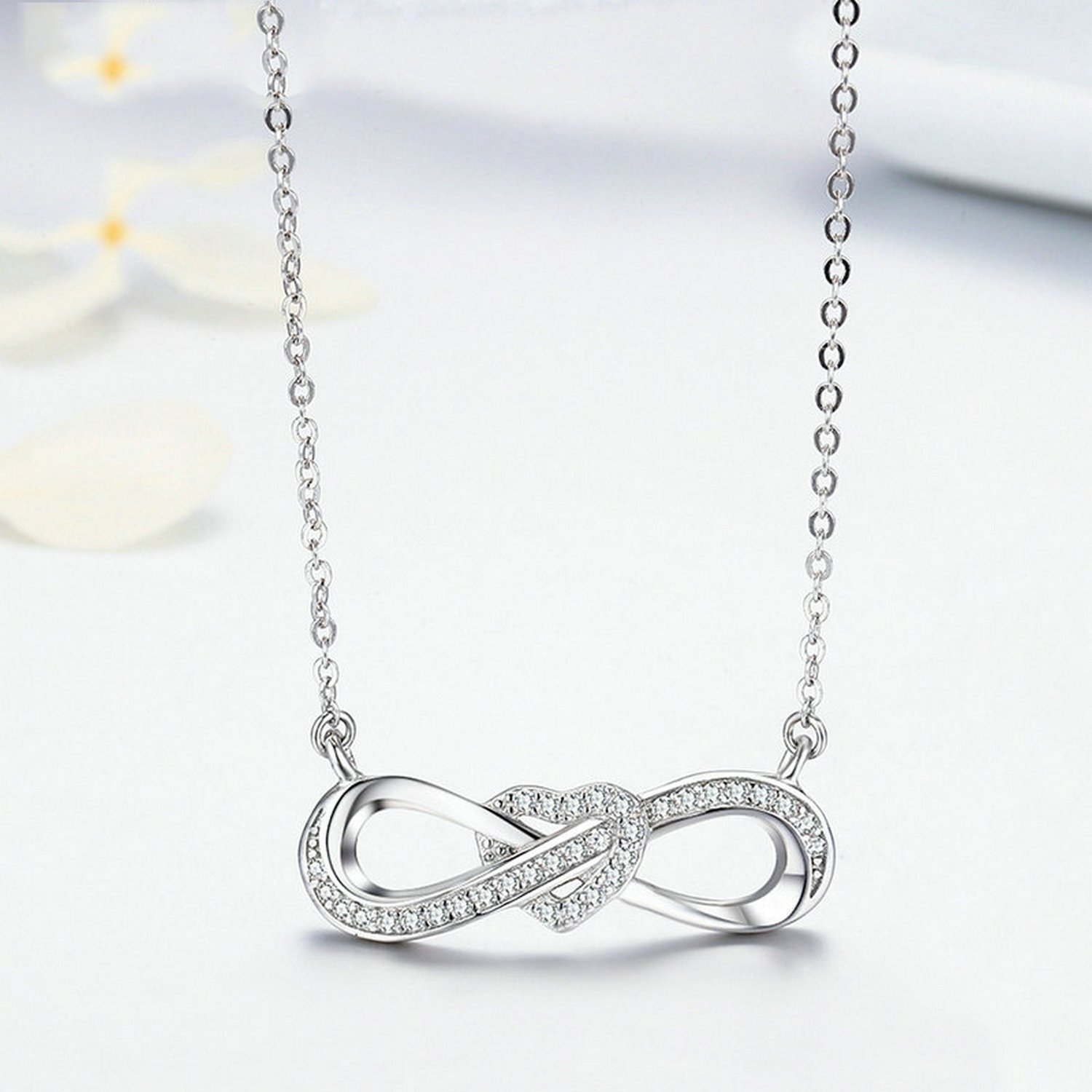 CS-DB Pendants Infinity Love Heart Knot Silver Necklaces