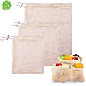 Food-safe Reusable Produce Bags,Mesh Laundry Bag with Organic Cotton Mesh Bag,Reusable Grocery Bags Keeps Vegetables and Fruit Fresh,Machine Washable, Double-Stitched Seams-6 Pcs Produce Bags …