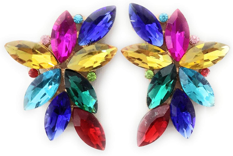 Pendientes Largos Grandes y Espectaculares de Mujer, Bisutería de Alta Gama con Cristales de Colores Fiesta Boda Forma Floral Chapado Oro o Plata, Varios Colores