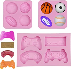 3 Pack Chocolate Fondant Molds, Game Controller Mold Ball Cake Silicone Molds, Football Basketball Baseball Rugby Candy Molds for Cake Decoration, Resin, Polymer Clay, Pudding, Keychain, Pink