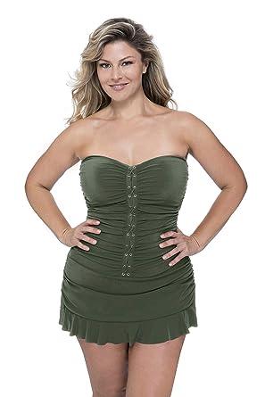 19d57869ae2 Profile by Gottex Women's Plus-Size Classic Bandeau Swimdress One Piece  Swimsuit, Moto Olive