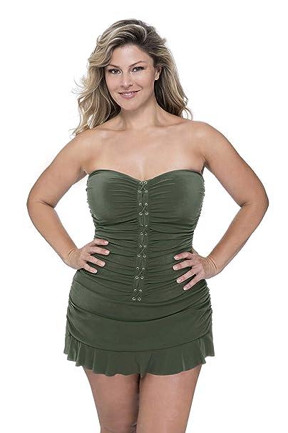 Profile By Gottex Women S Plus Size Classic Bandeau Swimdress One Piece Swimsuit