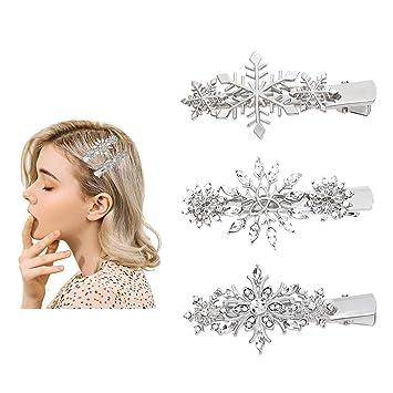 Girls Hair Clips Princess Crystal Snowflake Hairpin Kids Hair Clip 6 pcs//set