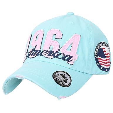 43e9d16f4c5 ililily Washed Cotton 1964 America Vintage Trucker Hat Casual Baseball Cap