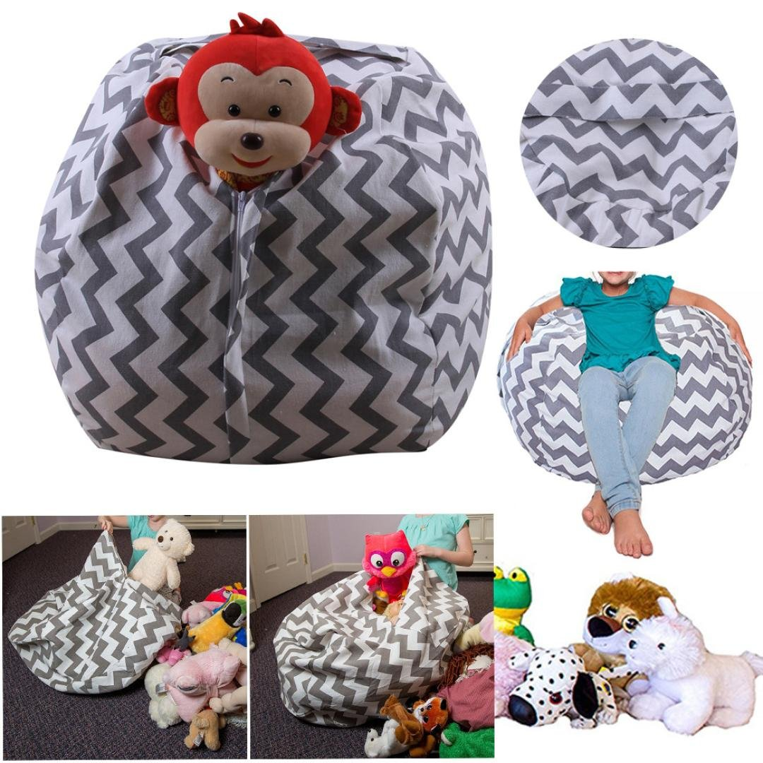 Cinhent Bag 24 Inch Kids Toys Stuffed Animal Plush Polyester Gray Storage Bag Soft Pouch Stripe Fabric Chair, Housekeeping & Organizers