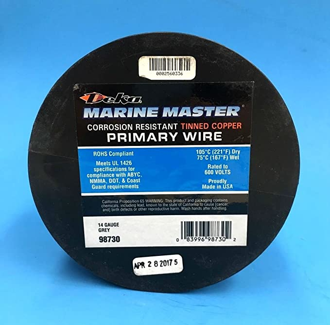DEKA 14AWG Grey Marine Tinned Copper Boat Stranded Wire 100 Feet ...