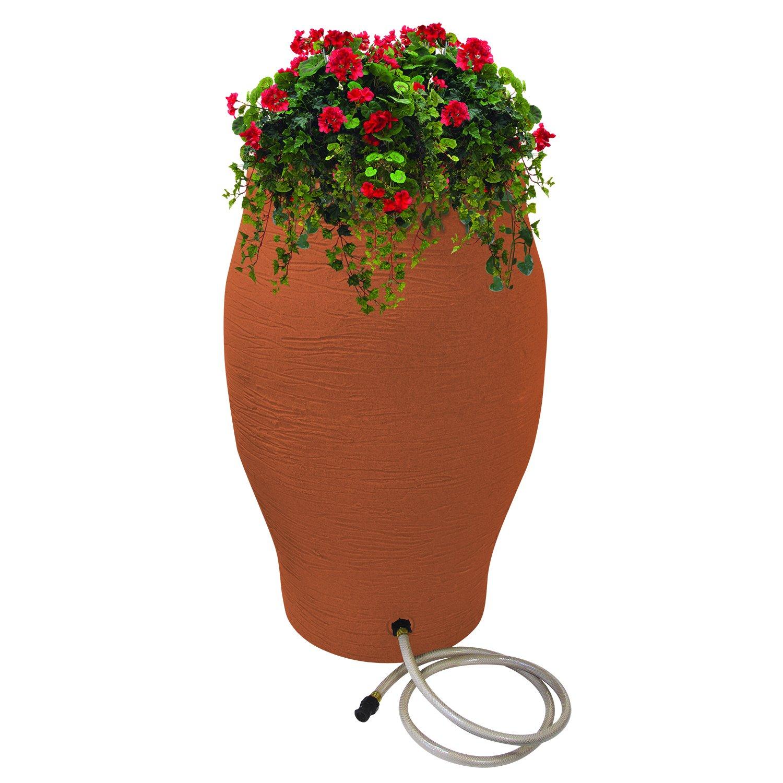 EMSCO Group Rescue 50-Gallon Stoneware Urn Rain Barrel – Includes Planter, Rain Water Diverter, Outlet Hose – Flatback Design – Terra Cotta by Emsco Group