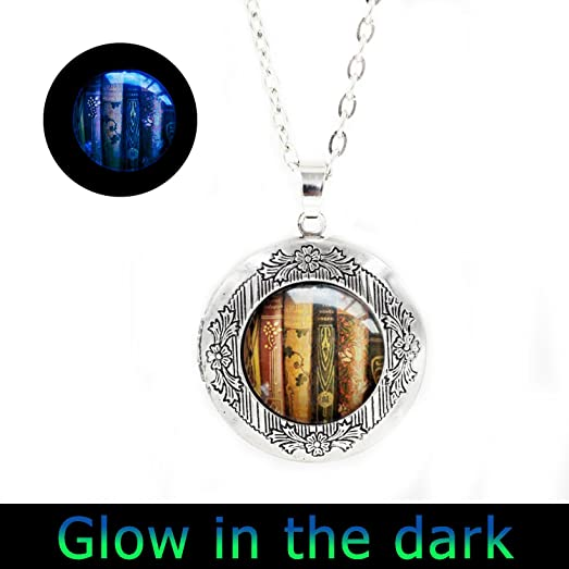 Amazon glowlalaglowing book locket necklace book locket glowlalaglowing book locket necklace book locket jewelry librarian glowing locket pendant gift for writer bibliophile book aloadofball Gallery