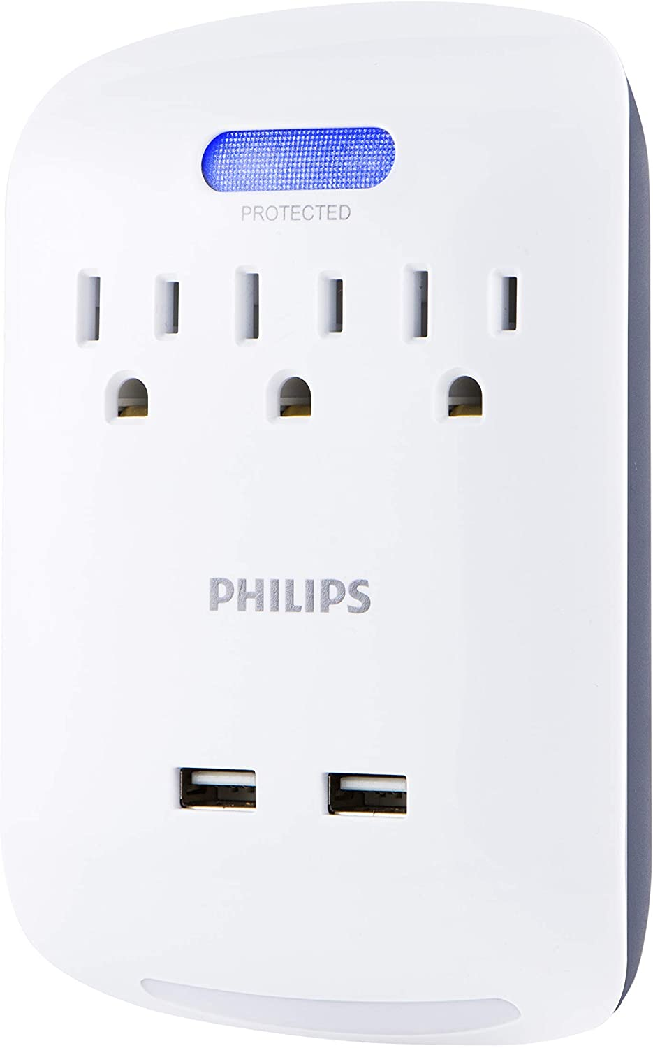 : PHILIPS 3 Outlet 2 USB Surge Protector with