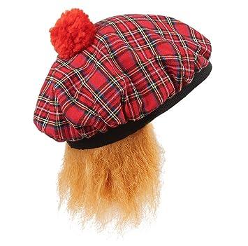 SCOTTISH HAT BURNS FANCY DRESS TAM-O-SHANTER /& HAIR TARTAN SCOTLAND NIGHT UK