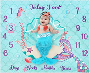 """Eunikroko Mermaid Baby Monthly Milestone Blanket Mermaid Fleece Blankets Baby Girls Pictures Growth Tracker Photography Background Weeks Months with Props for Newborn Infants Shower Gift (50"""" x 40"""")"""
