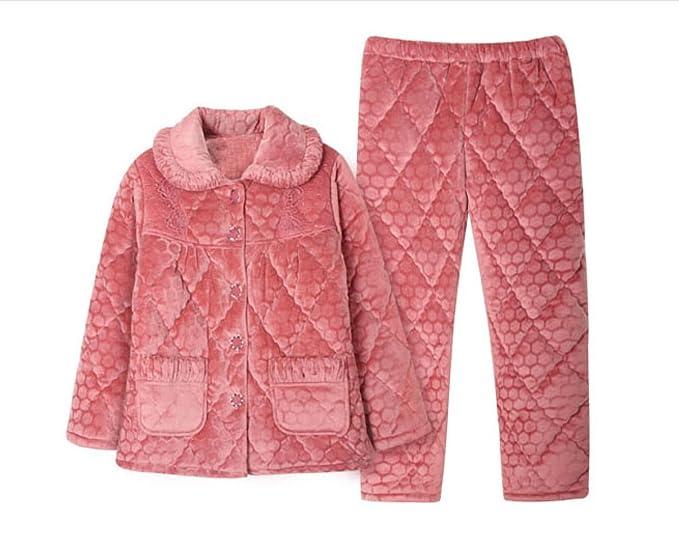 Pijama De Mujer Otoño E Invierno Acolchado Cálido Traje Espeso Color Sólido Solapa De Dos Piezas