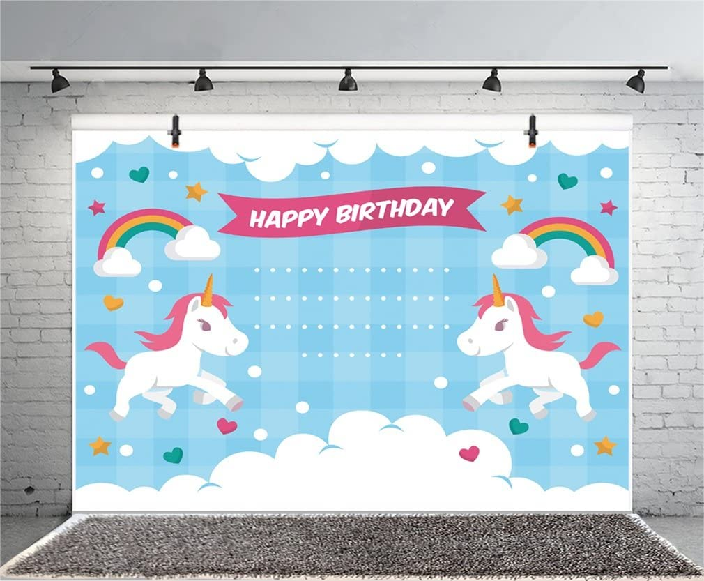 8x6.5ft Cartoon Pink Unicorn Backdrops for Photography Baby Shower Happy Birthday Backdrop Girls Birthday Backdrop Pink Classical Pattern Backdrop Pink Curtains Photo Shooting Props