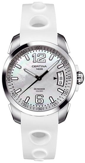 Certina DS Rookie - Reloj de cuarzo para mujer, con correa de goma, color blanco: Amazon.es: Relojes