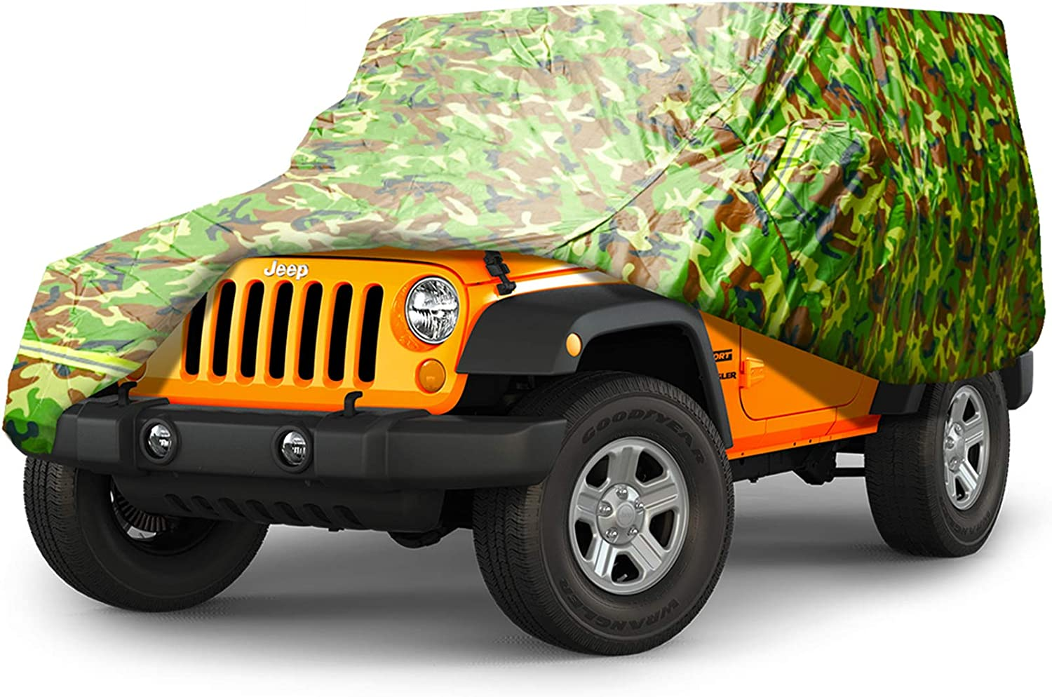 JL YJ BORDAN Jeep Car Cover All Weather Protection Waterproof SUV Cover Fit for Jeep Wrangler 1987-2019 JK CJ TJ 2 Doors