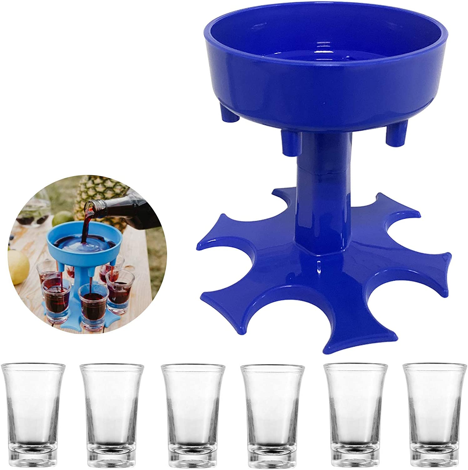 Shot Glass Dispenser with 6 Acrylic Cups,Shot Glass Dispenser and Holder, Bar Shot Dispenser, Cocktail Dispenser, For Bar Home Cocktail/Party (Blue)