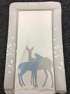 Cambiador unisex para bebé impermeable con bordes doblados, diseño único en azul con bosque y