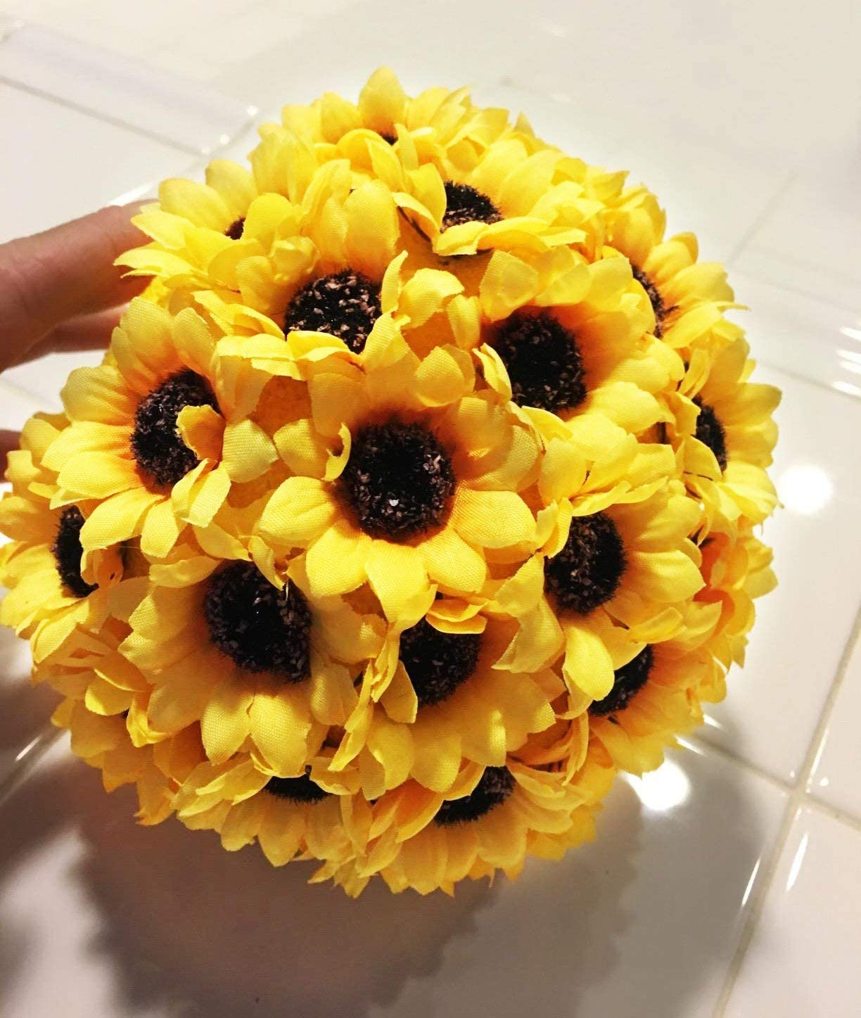 Bride Holding Flowers,Garden Craft Art Decor KINWELL 100pcs Artificial Silk Yellow Sunflower Heads 2.8 Fabric Floral for Home Decoration Wedding Decor