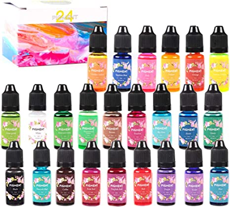 Pigmentos para Resina Epoxi 24 Colores Colorante Resina Epoxi Tinte Líquido para Manualidades Joyas Pintura Artesanal Arte