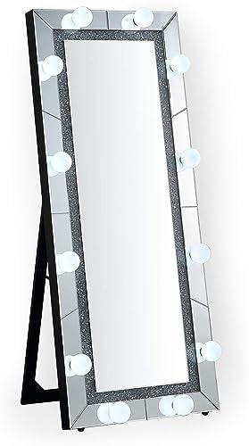 Krugg Full Height Lighted Hollywood Vanity Mirror LED Makeup Mirror Floor Mount Plug-in