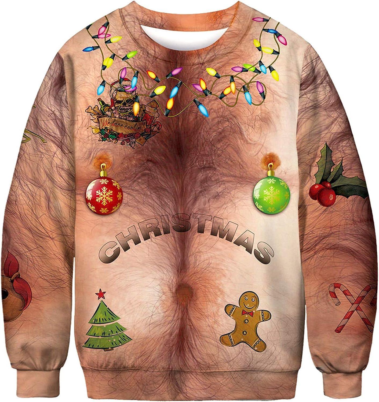 Unisex Navidad Pelo De Pecho Camisa Divertida, Navidad ...