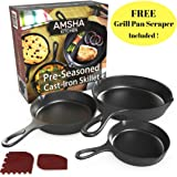 Pre-Seasoned Cast Iron Skillet 3 Piece Set (10, 8 inch & 6 inch Pans) Best Heavy Duty Professional Restaurant Chef Quality Pre Seasoned Pan Cookware For Frying, Saute, Cooking