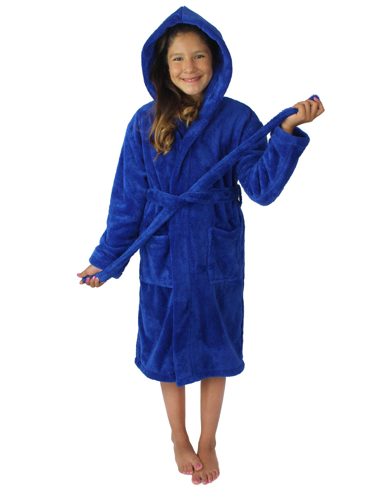 Kids Plush and Soft Fleece Hooded Bathrobe for Girls and Boys (Royal Blue, Medium)