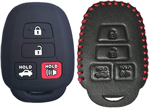 Coolbestda 2Pcs Leather Key Fob Remote Accessories Skin Cover Protector Keyless Entry Case for Toyota Camry SE LE Avalon Corolla RAV4 Venza Highlander Sequoia HYQ12BDM Black