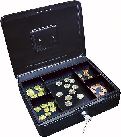 Wedo 145421H - Caja para dinero (30 x 24 x 9 cm, 5 compartimentos), color negro: Amazon.es: Oficina y papelería