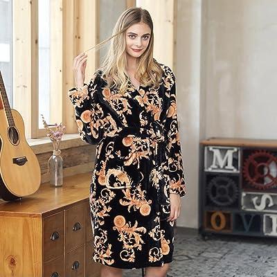 ZLR Hiver Lady Sleep Robe à manches longues Imprimé Peignoirs Long Épaississement Chaud Peignoirs Vêtements de Maison
