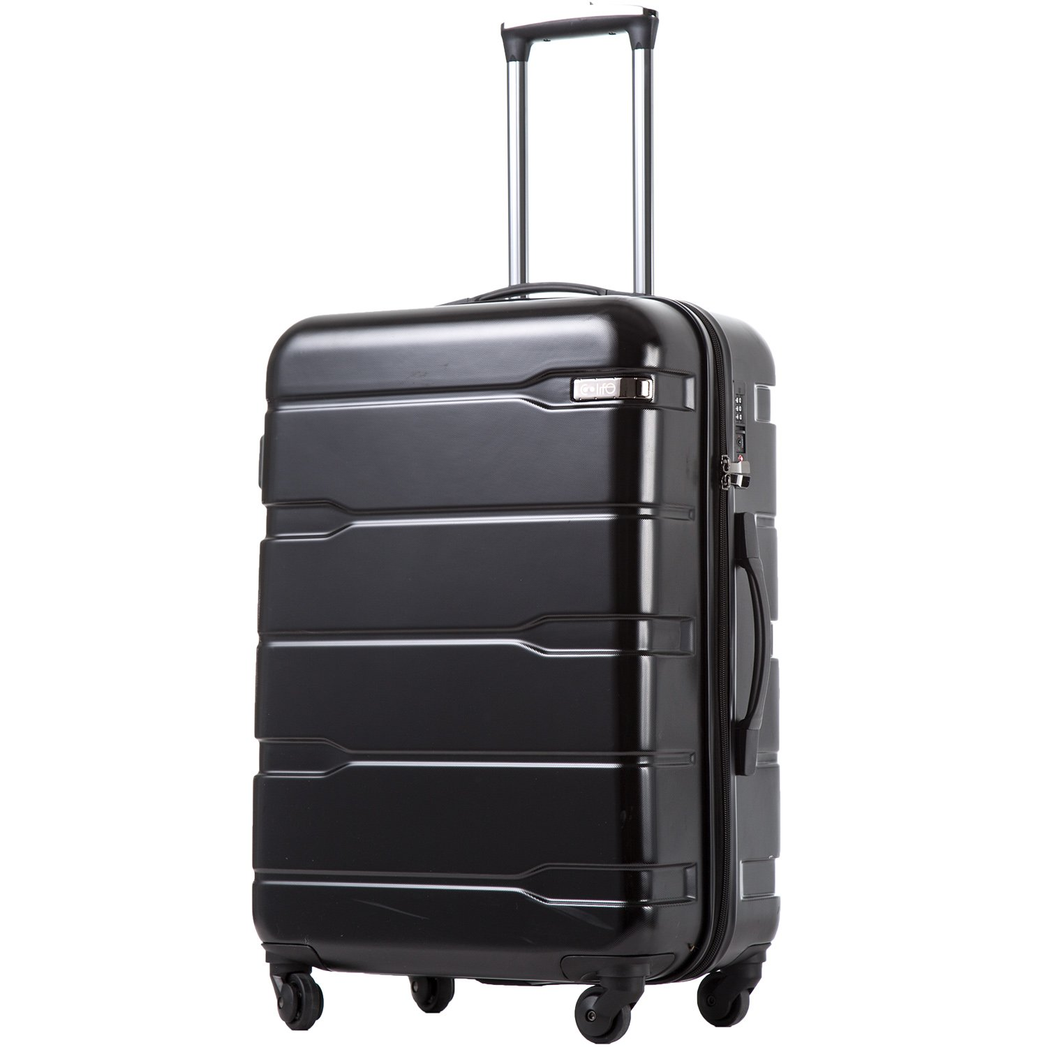 Coolife Luggage Expandable Suitcase PC+ABS Spinner 20in 24in 28in Carry on (black., L(28in).) by Coolife