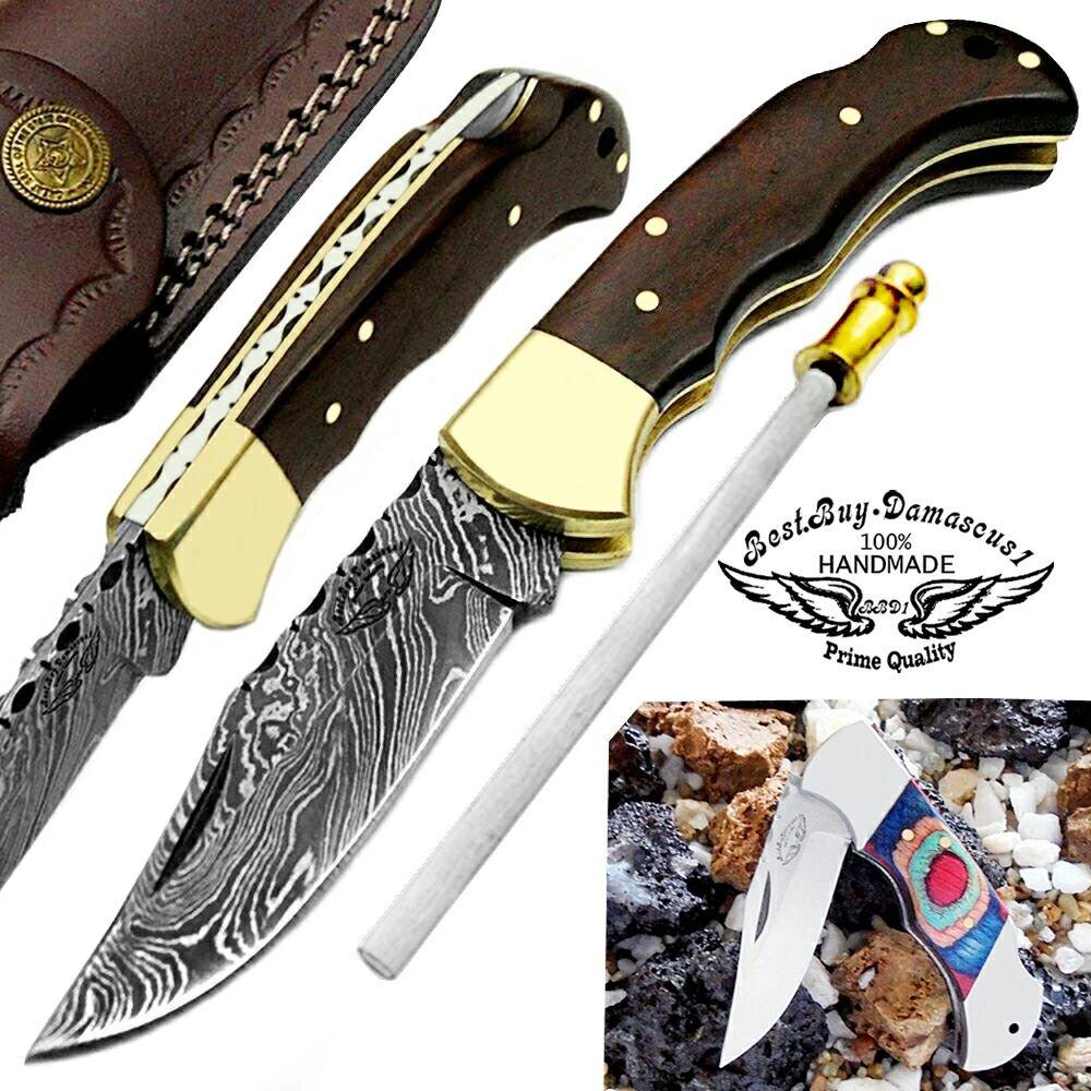 Rose Wood 6.5'' Handmade Damascus Steel Brass Bloster Back Lock Folding Pocket Knife 100% Prime Quality Sharpening Rod Plus Multi Wood Stainless Steel Pocket Knive