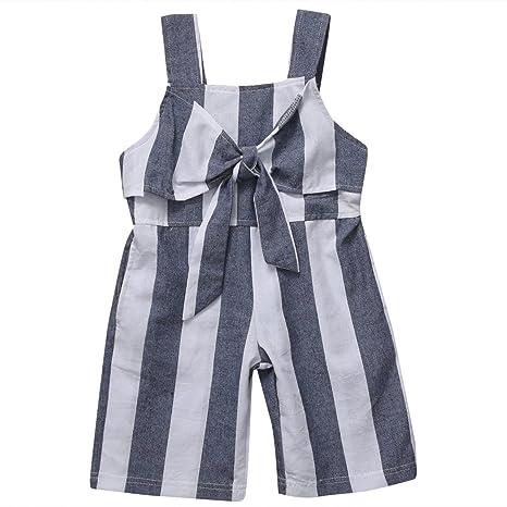 faa21a039ff5 Hotwon Romper Clothes Stripes Jumpsuits Big Bow Straps Romper Suits ...