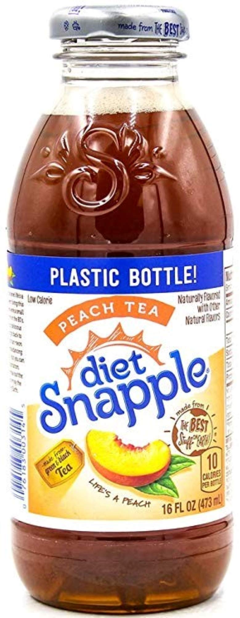 Snapple Diet Peach Iced Tea, 16oz Bottle (Pack of 8, Total of 128 Fl Oz) by Snapple
