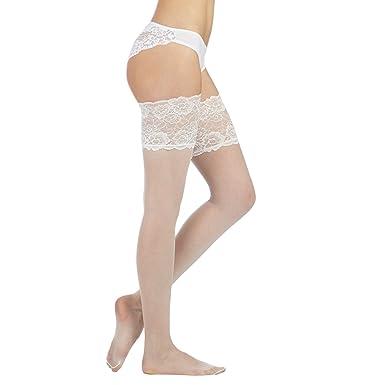357ac424971 Reger By Janet Reger Womens Designer Ivory 10D Deep Lace Bridal Hold Ups M