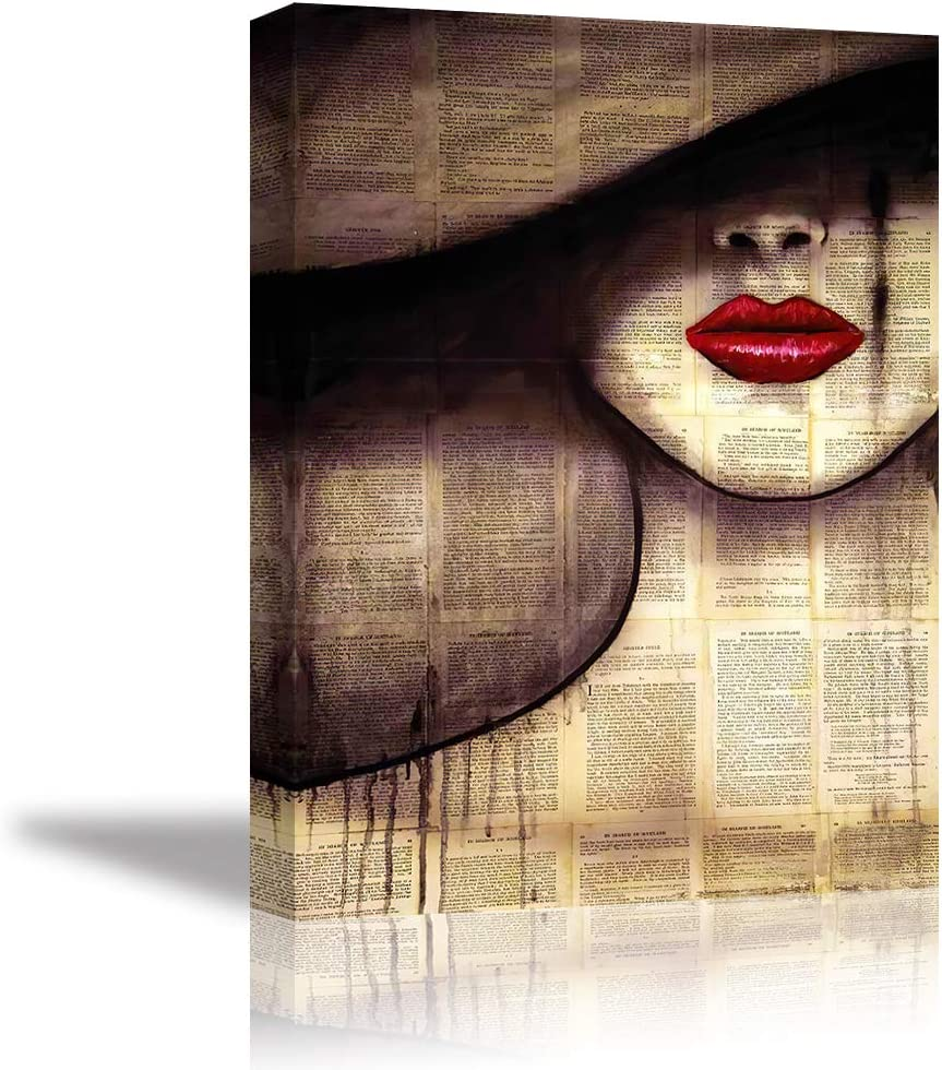 Tku's Red Lips Woman Wall Decor Girl Wall Art Old Newspaper Canvas Oil Painting Vintage Dictionary Framed Picture Print Home Decoration for Bedroom (Ready to Hang)
