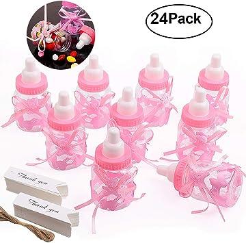 Gudotra 125 Packs 24pcs Biberones Bautizo Plastico Rosa Botella Dulces + 100pcs Tarjetas Blanco + 10 Metros Cuerda de Yute para Recuerdo de Bautizo Baby Shower: Amazon.es: Juguetes y juegos