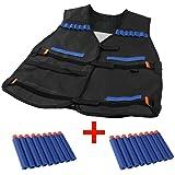 Yalulu Elite Taktische Weste Tactical Vest mit 20 Stück Weiche Schaumstoff blau Darts für Nerf Gun N-Strike Elite Series (Tactical Vest mit 20 Darts)