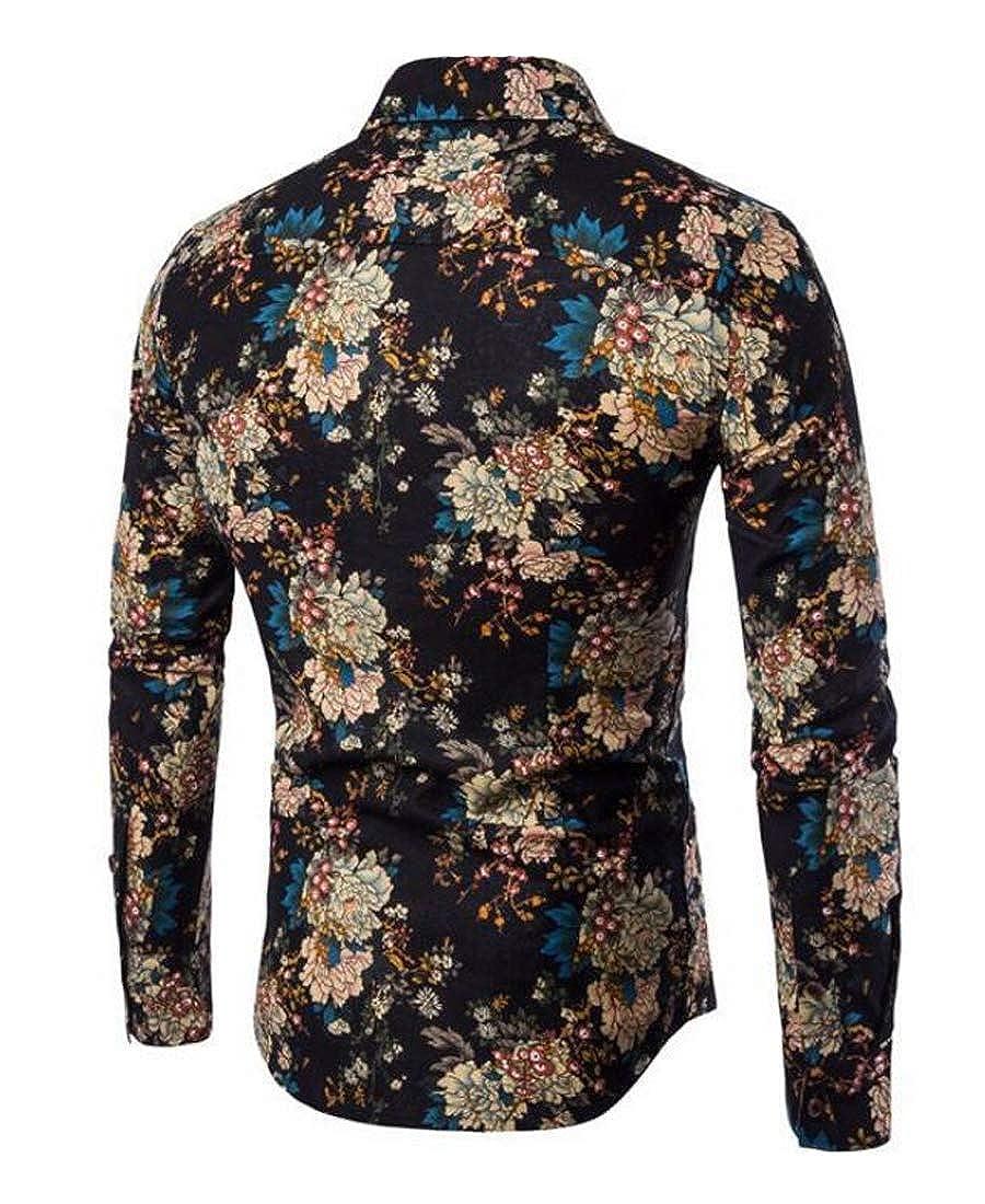 Domple Mens Casual Long Sleeve Linen Printed Regular Fit Button Up Dress Shirt