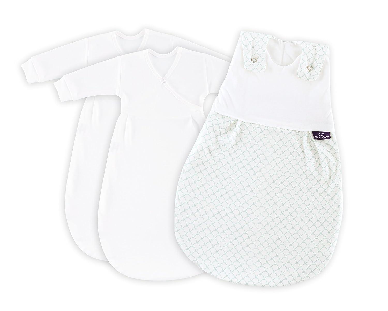 Träumeland S0100753 Babyschlafsack LIEBMICH 3 teilig Schuppen weiß, Größe 56 62, mehrfarbig