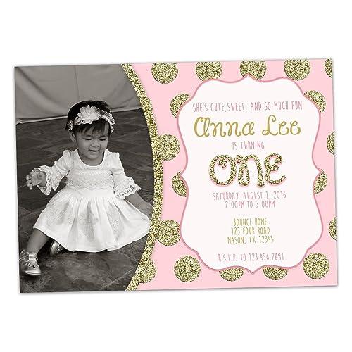 Amazon Com Pink Gold Glitter 1st Birthday Invitation Girl Photo
