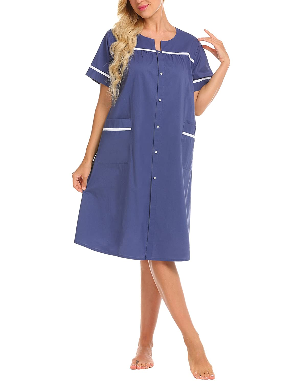 Ekouaer Women's Snap-Front Duster Short Sleeve Cotton House Dress Nightgown S-XXL #EKV007079
