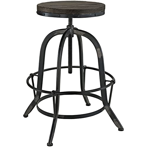 Modway Collect Industrial Modern Rustic Farmhouse Wood Cast Iron Bar Stool in Black