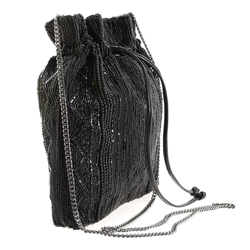 MARY FRANCES Black Out Beaded Solid Pattern Drawstring Crossbody Handbag by Mary Frances (Image #3)