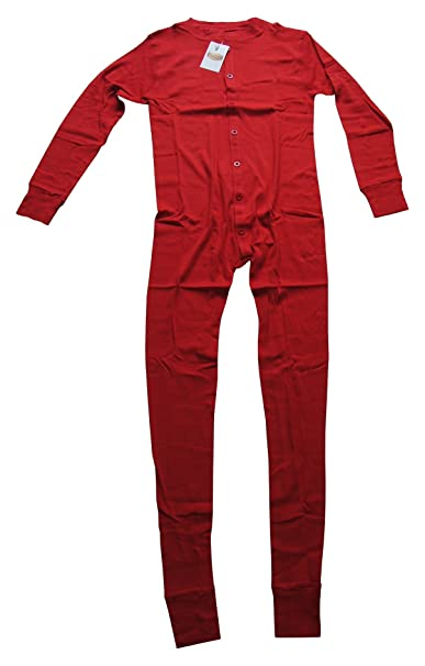 Long John Rojo Ropa Interior para Cowboys, Interior de esquí, Pijama Rojo Small