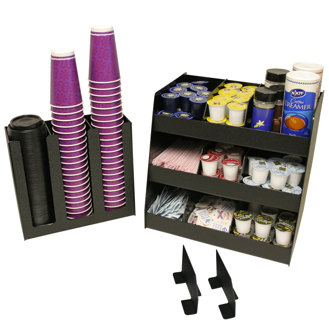 Coffee Condiment or K-Cup Organizer, 2 Piece Combo for Office or Home. Comes With 8 Extra Tall Movable Dividers. 16 W x 12