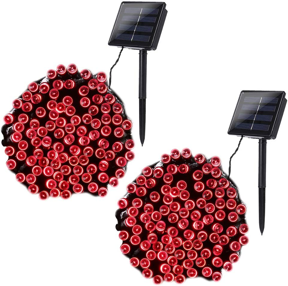 Joomer 2 Pack Solar Christmas Lights 72ft 200 LED 8 Modes Solar String Lights Waterproof Solar Fairy Lights for Garden, Patio, Fence, Balcony, Outdoors (Red)