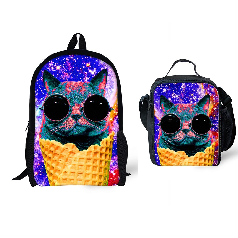 8cd57acba17d CHALQIN Camo Colorful Children School Book Bags with Lunch Bag for Teenagers